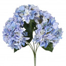 Hydrangea bush, 5 flower heads, L45cm, blue-white